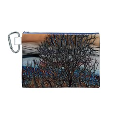Abstract Sunset Tree Canvas Cosmetic Bag (Medium)