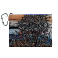 Abstract Sunset Tree Canvas Cosmetic Bag (XL)