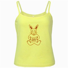 Cute Bunny With Banner Drawing Yellow Spaghetti Tank