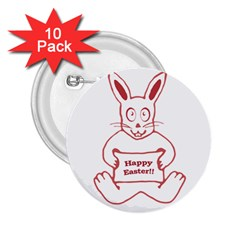 Cute Bunny With Banner Drawing 2 25  Button (10 Pack)