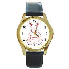Cute Bunny With Banner Drawing Round Leather Watch (gold Rim)