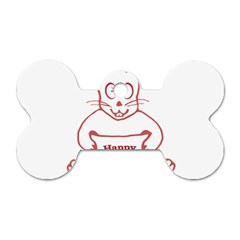 Cute Bunny With Banner Drawing Dog Tag Bone (two Sided)