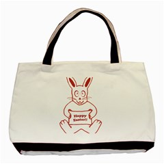 Cute Bunny With Banner Drawing Twin Sided Black Tote Bag