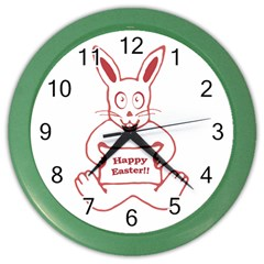Cute Bunny With Banner Drawing Wall Clock (color)