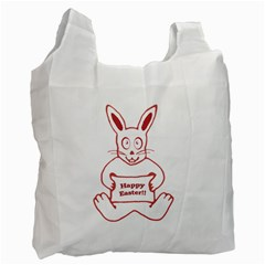 Cute Bunny With Banner Drawing White Reusable Bag (two Sides)