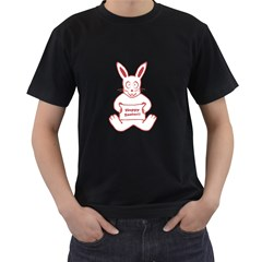 Cute Bunny With Banner Drawing Men s T Shirt (black)