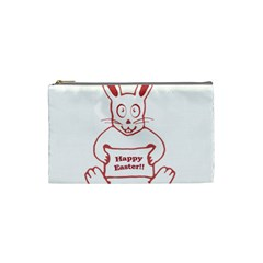Cute Bunny With Banner Drawing Cosmetic Bag (small)