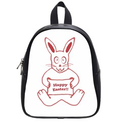 Cute Bunny With Banner Drawing School Bag (small)