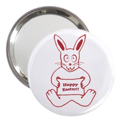 Cute Bunny With Banner Drawing 3  Handbag Mirror