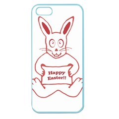 Cute Bunny With Banner Drawing Apple Seamless Iphone 5 Case (color)