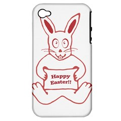 Cute Bunny With Banner Drawing Apple Iphone 4/4s Hardshell Case (pc+silicone)