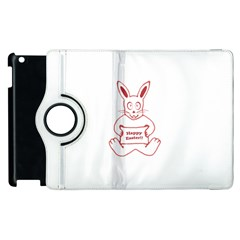 Cute Bunny With Banner Drawing Apple iPad 3/4 Flip 360 Case