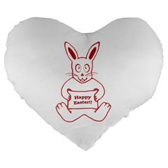 Cute Bunny With Banner Drawing 19  Premium Heart Shape Cushion