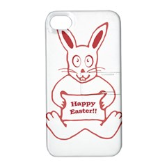 Cute Bunny With Banner Drawing Apple Iphone 4/4s Hardshell Case With Stand