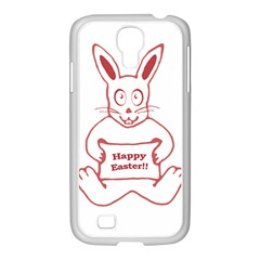 Cute Bunny With Banner Drawing Samsung Galaxy S4 I9500/ I9505 Case (white)