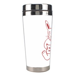 Cute Bunny With Banner Drawing Stainless Steel Travel Tumbler
