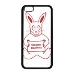Cute Bunny With Banner Drawing Apple iPhone 5C Seamless Case (Black) Front