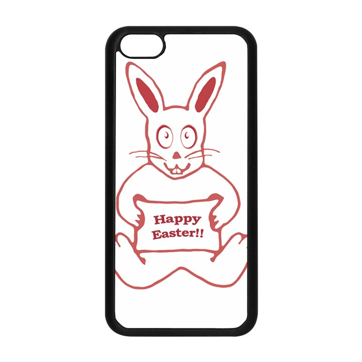Cute Bunny With Banner Drawing Apple iPhone 5C Seamless Case (Black)