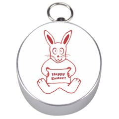 Cute Bunny With Banner Drawing Silver Compass