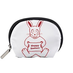Cute Bunny With Banner Drawing Accessory Pouch (Small)