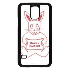 Cute Bunny With Banner Drawing Samsung Galaxy S5 Case (Black)