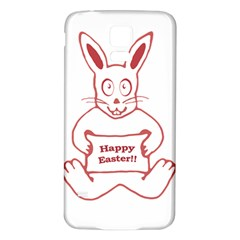 Cute Bunny With Banner Drawing Samsung Galaxy S5 Back Case (White)