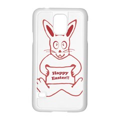 Cute Bunny With Banner Drawing Samsung Galaxy S5 Case (white)