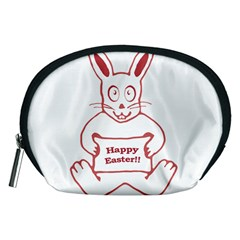 Cute Bunny With Banner Drawing Accessory Pouch (Medium)