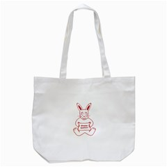 Cute Bunny With Banner Drawing Tote Bag (White)