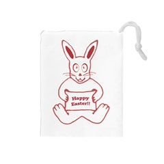 Cute Bunny With Banner Drawing Drawstring Pouch (medium)