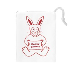 Cute Bunny With Banner Drawing Drawstring Pouch (Large)