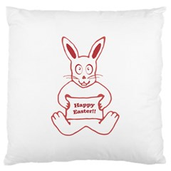 Cute Bunny With Banner Drawing Standard Flano Cushion Case (one Side)