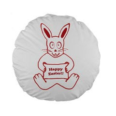 Cute Bunny With Banner Drawing 15  Premium Flano Round Cushion