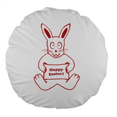 Cute Bunny With Banner Drawing 18  Premium Flano Round Cushion