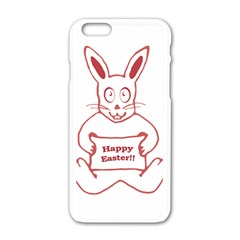 Cute Bunny With Banner Drawing Apple iPhone 6 White Enamel Case
