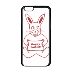Cute Bunny With Banner Drawing Apple iPhone 6 Black Enamel Case