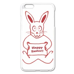 Cute Bunny With Banner Drawing Apple iPhone 6 Plus Enamel White Case