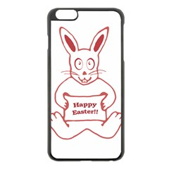 Cute Bunny With Banner Drawing Apple Iphone 6 Plus Black Enamel Case