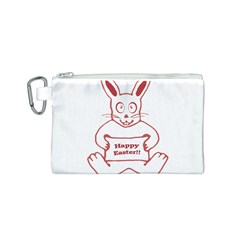 Cute Bunny With Banner Drawing Canvas Cosmetic Bag (Small)