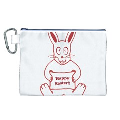 Cute Bunny With Banner Drawing Canvas Cosmetic Bag (Large)