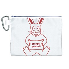 Cute Bunny With Banner Drawing Canvas Cosmetic Bag (XL)