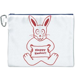 Cute Bunny With Banner Drawing Canvas Cosmetic Bag (XXXL)