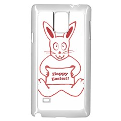 Cute Bunny With Banner Drawing Samsung Galaxy Note 4 Case (White)