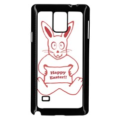 Cute Bunny With Banner Drawing Samsung Galaxy Note 4 Case (black)