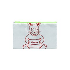 Cute Bunny With Banner Drawing Cosmetic Bag (xs)