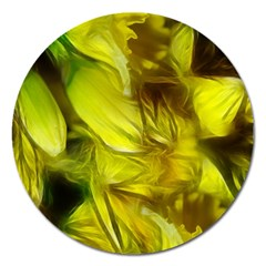 Abstract Yellow Daffodils Magnet 5  (round)