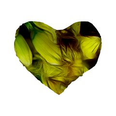 Abstract Yellow Daffodils 16  Premium Heart Shape Cushion