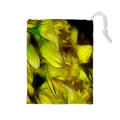 Abstract Yellow Daffodils Drawstring Pouch (Large)