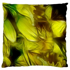 Abstract Yellow Daffodils Large Flano Cushion Case (One Side)