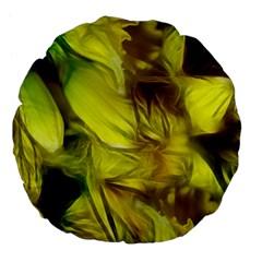 Abstract Yellow Daffodils 18  Premium Flano Round Cushion